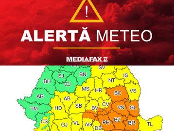 NEWS ALERT. Ploile nu se opresc. ANM a emis un Cod portocaliu de ploi abundente în 12 judeţe din ţară şi Cod galben în mare parte din ţară