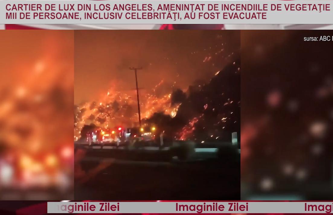 IMAGINILE ZILEI Cartier de lux din Los Angeles, ameninţat de incendiile de vegetaţie. Mii de persoane, inclusiv celebrităţi, evacuate