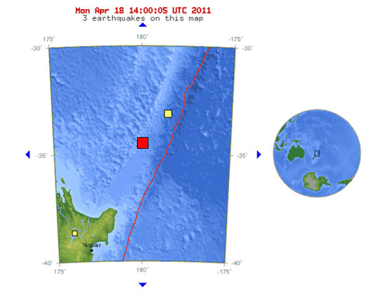 Imaginea articolului Cutremur cu magnitudinea de 7,4 grade, în regiunea Insulelor Kermadec, aparţinând Noii Zeelande