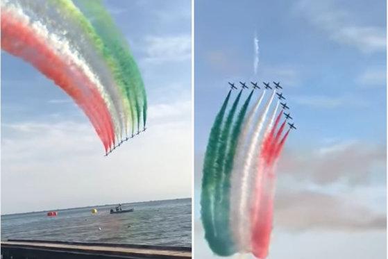 """Imaginea articolului Emoţionant! Aviaţia italiană """"desenează"""" tricolorul în semn de susţinere a populaţiei. """"Suntem în război, doar că este un război diferit"""" VIDEO"""