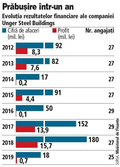 Grafic: Evoluţia rezultatelor financiare ale companiei Unger Steel Buildings (2012-2019)