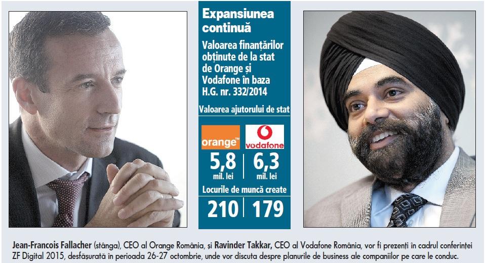Orange şi Vodafone primesc un nou ajutor de stat  de 12 mil. lei de la Finanţe pentru 400 de joburi