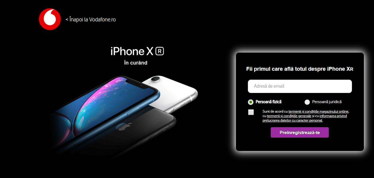 Vodafone România deschide astăzi precomenzile pentru iPhone Xr