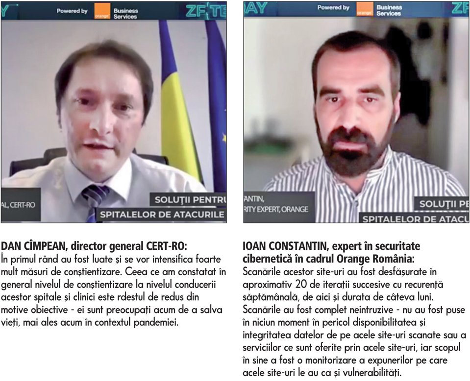 ZF Tech Day. CERT.ro şi Orange au scanat site-urile a peste 400 de spitale din România pentru identificarea vulnerabilităţilor cibernetice. Astfel de scanări nu trebuie însă să aibă loc o singură dată, ci trebuie realizate periodic