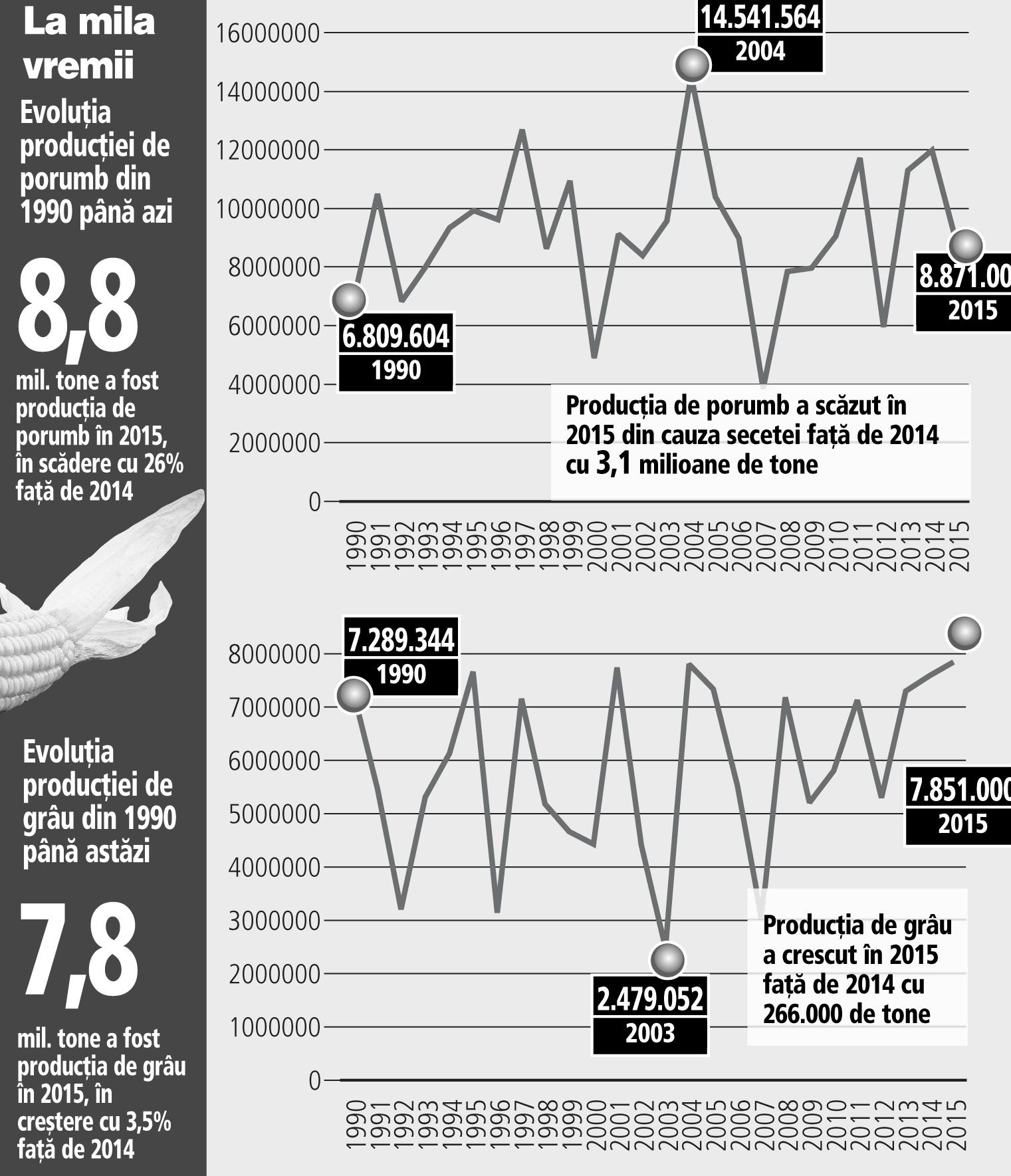 Evoluţia producţiei de porumb din 1990 până azi