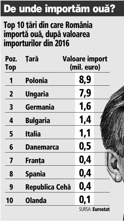 Grafic: Top 10 ţări din care România importă ouă, după valoarea importurilor din 2016