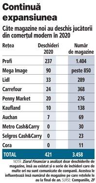 Grafic: Câte magazine noi au deschis jucătorii din comerţul modern în 2020