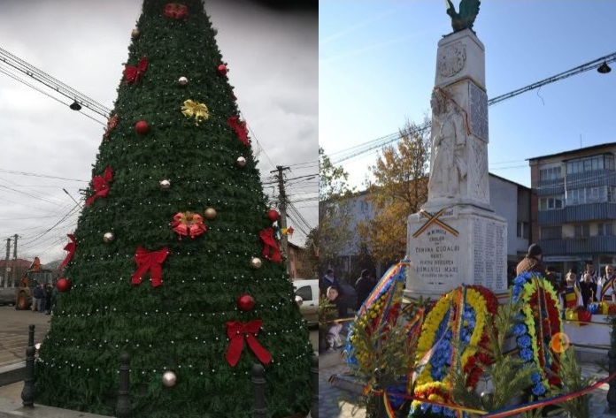 Inventivitate sau lipsă de respect? Monumentul Eroilor dintr-o comună din Galaţi a fost folosit de primar pe post de brad de Crăciun