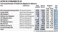 Grafic: Cele mai performante 10 fonduri de obligaţiuni în ultimul an