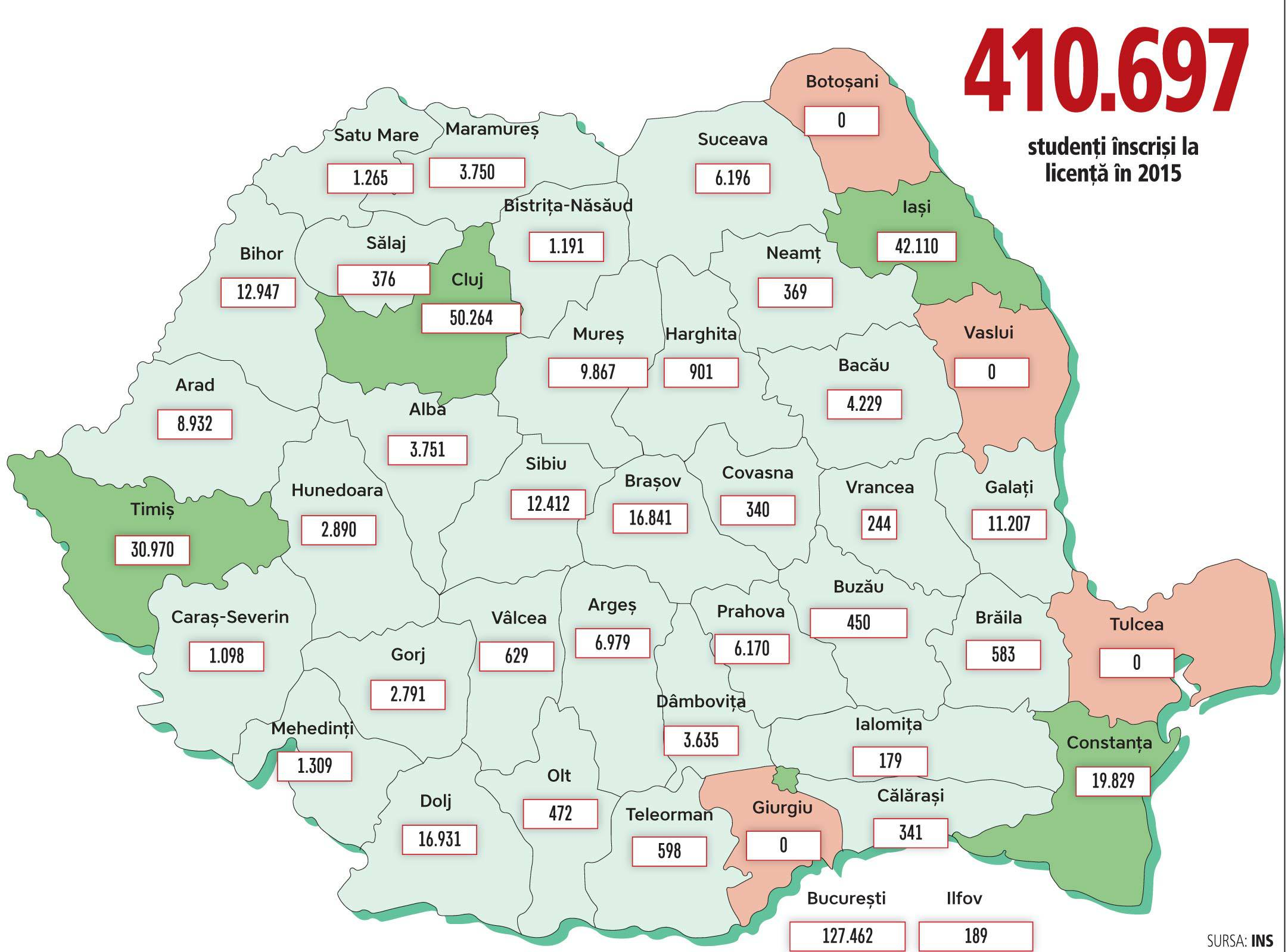 Harta Studenţilor Din Romania Centrele Universitare Au Atras Cei