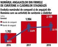 Grafic: Evoluţia numărului de companii şi de angajaţi din România care au activităţi de curăţenie a clădirilor