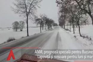 LAPOVIŢĂ şi NINSOARE în Bucureşti, luni şi marţi. Strat de zăpadă de până la opt centimetri
